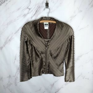 Neiman Marcus Tadashi Brown Tiered Cocktail Blouse